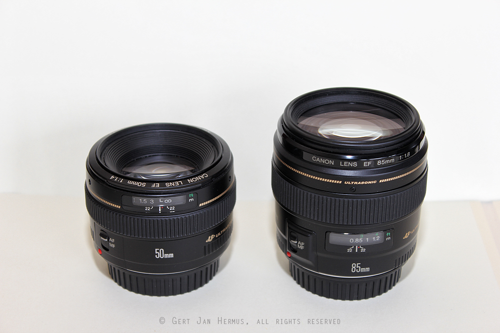 review Canon EF-50mm f/1.4 USM en Canon EF-85mm f/1.8 USM