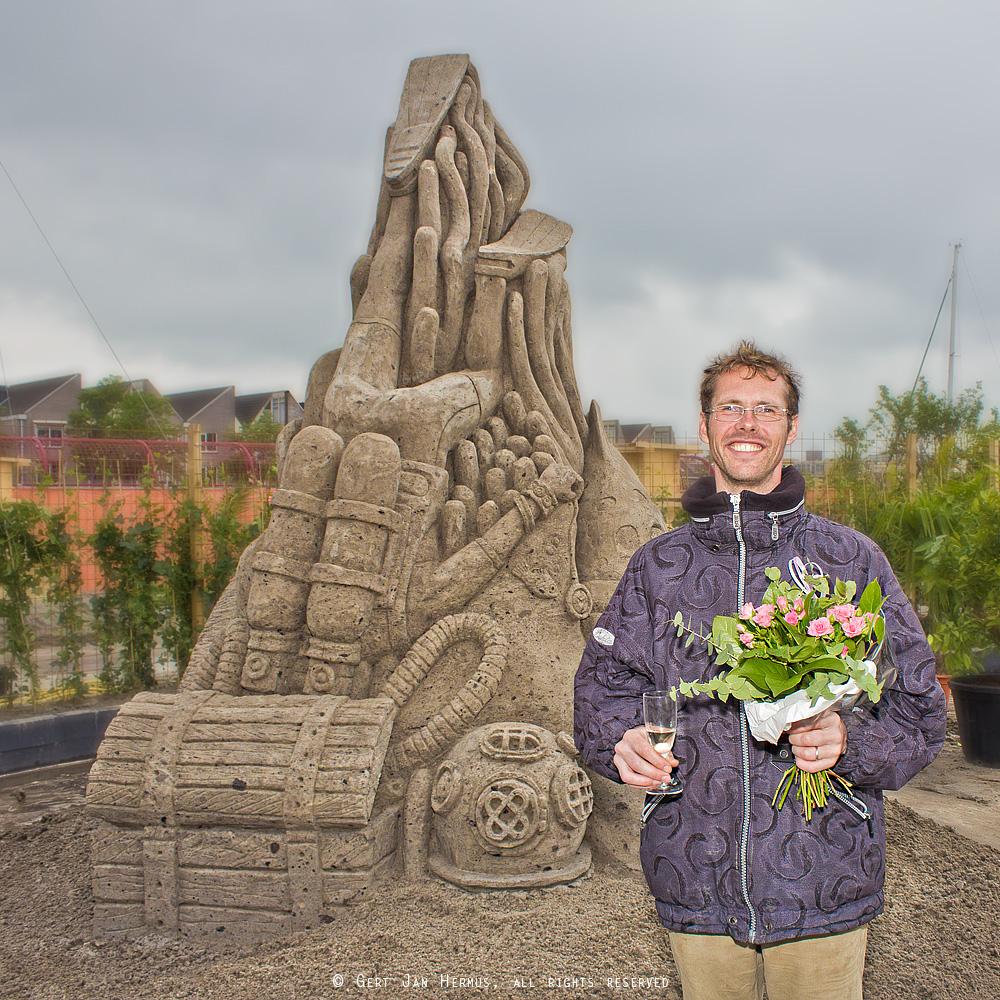 Jeroen Advocaat winnaar Zandsculpturen Sneek