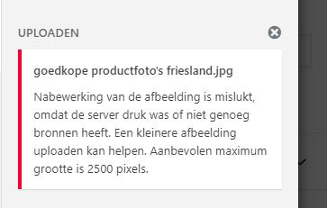 wordpress nabewerking van de foto is mislukt uploaden